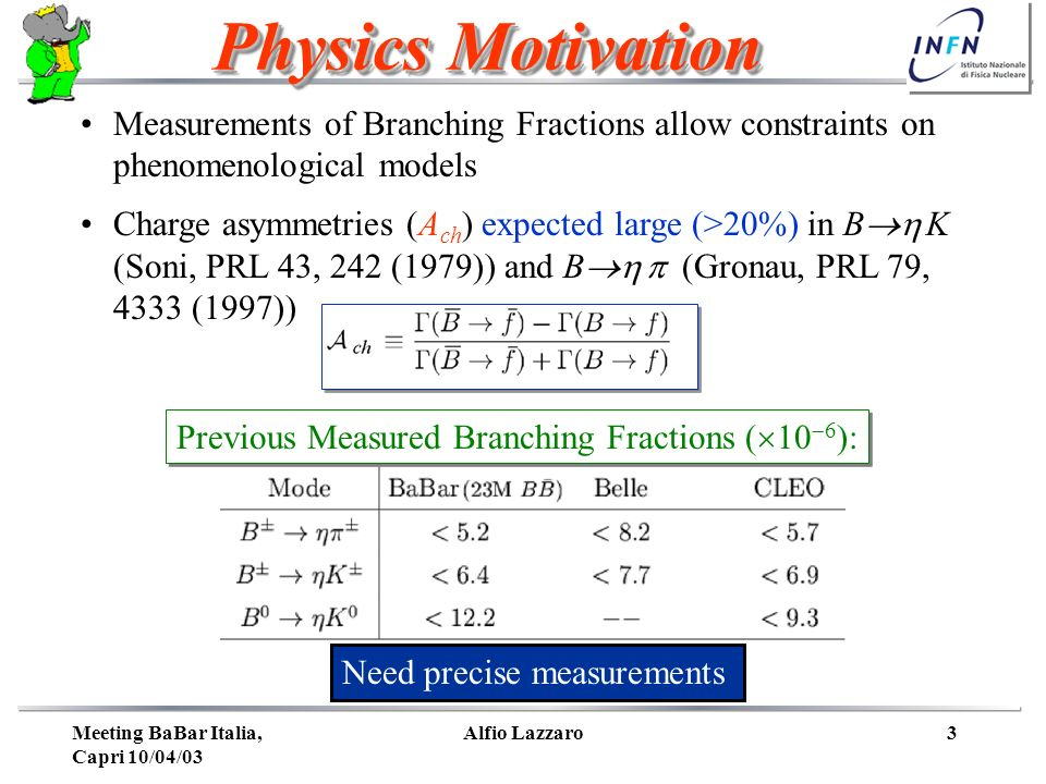 Meeting BaBar Italia, Capri 10/04/03 Alfio Lazzaro3 Measurements of Branching Fractions allow constraints on phenomenological models Charge asymmetries (A ch ) expected large (>20%) in B K (Soni, PRL 43, 242 (1979)) and B (Gronau, PRL 79, 4333 (1997)) Physics Motivation Need precise measurements Previous Measured Branching Fractions ( 10 6 ):