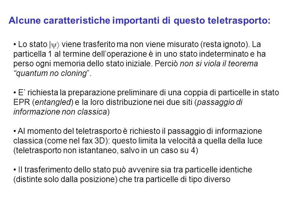 Alcune caratteristiche importanti di questo teletrasporto: Lo stato | viene trasferito ma non viene misurato (resta ignoto).