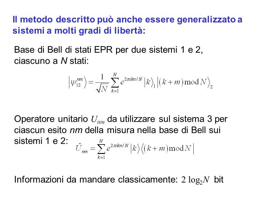 Il metodo descritto può anche essere generalizzato a sistemi a molti gradi di libertà: Base di Bell di stati EPR per due sistemi 1 e 2, ciascuno a N stati: Operatore unitario U nm da utilizzare sul sistema 3 per ciascun esito nm della misura nella base di Bell sui sistemi 1 e 2: Informazioni da mandare classicamente: 2 log 2 N bit