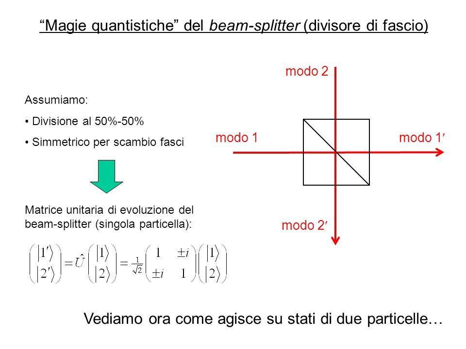 Magie quantistiche del beam-splitter (divisore di fascio) modo 1 modo 2 modo 1 Assumiamo: Divisione al 50%-50% Simmetrico per scambio fasci Matrice unitaria di evoluzione del beam-splitter (singola particella): Vediamo ora come agisce su stati di due particelle…