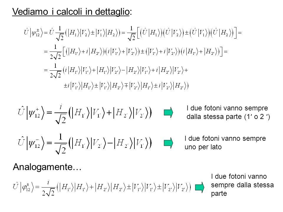 I due fotoni vanno sempre dalla stessa parte (1 o 2 ) I due fotoni vanno sempre uno per lato Analogamente… I due fotoni vanno sempre dalla stessa parte Vediamo i calcoli in dettaglio: