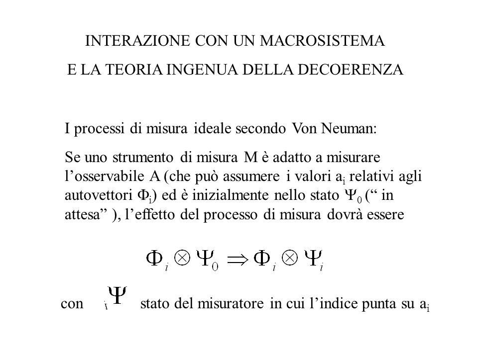 INTERAZIONE CON UN MACROSISTEMA E LA TEORIA INGENUA DELLA DECOERENZA I processi di misura ideale secondo Von Neuman: Se uno strumento di misura M è ad