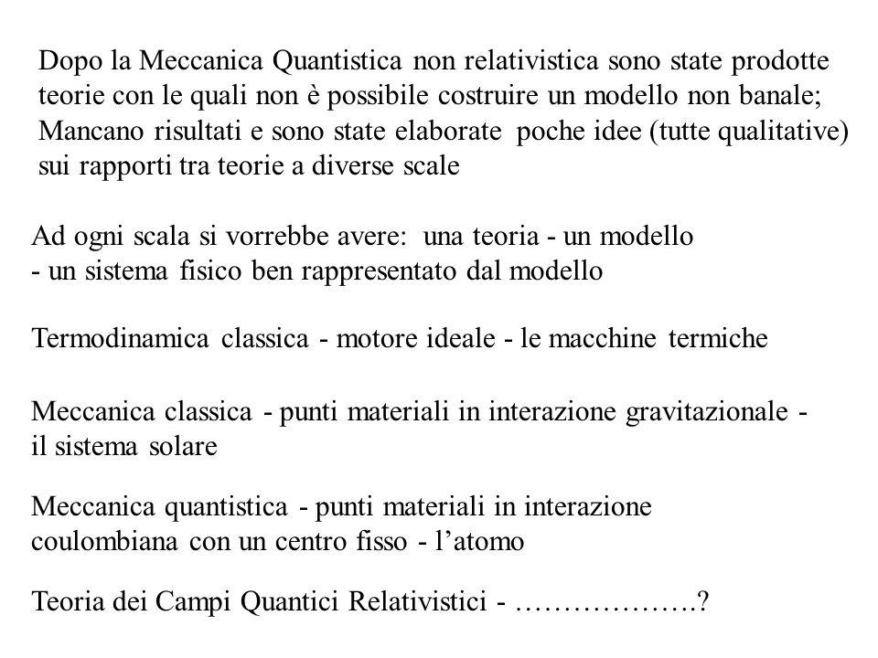 Dopo la Meccanica Quantistica non relativistica sono state prodotte teorie con le quali non è possibile costruire un modello non banale; Mancano risul