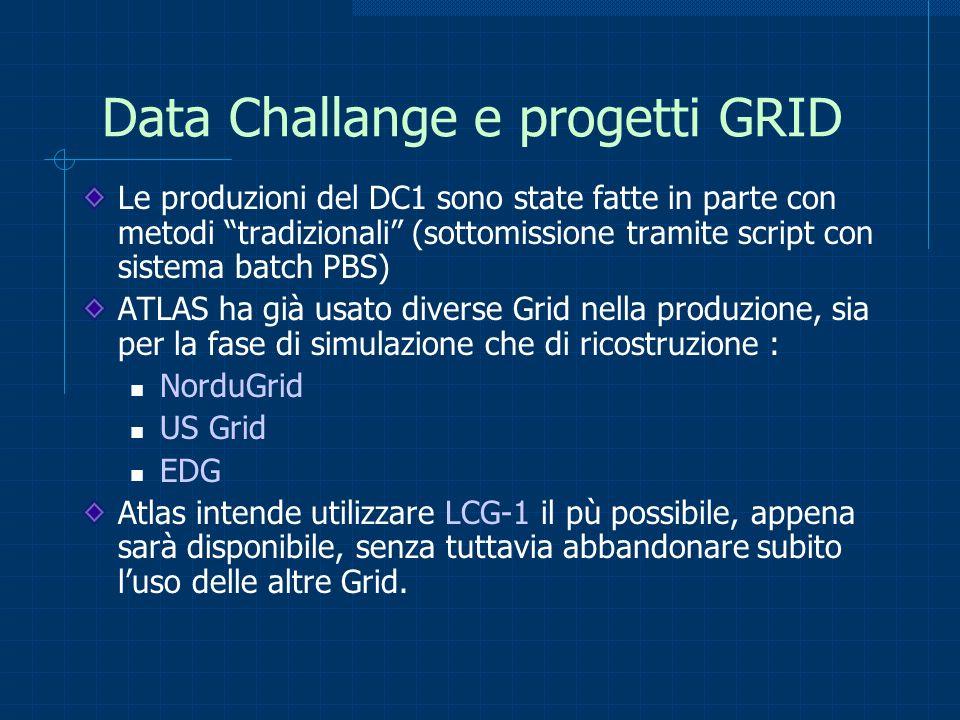 Data Challange e progetti GRID Le produzioni del DC1 sono state fatte in parte con metodi tradizionali (sottomissione tramite script con sistema batch