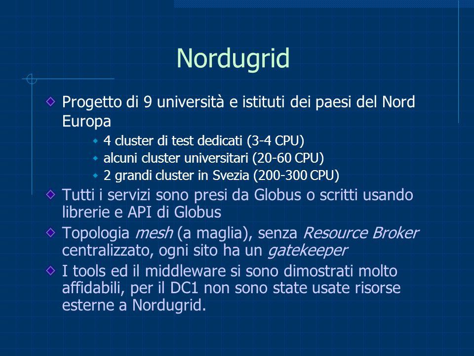 Nordugrid Progetto di 9 università e istituti dei paesi del Nord Europa 4 cluster di test dedicati (3-4 CPU) alcuni cluster universitari (20-60 CPU) 2