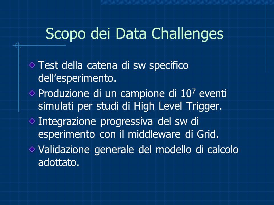Scopo dei Data Challenges Test della catena di sw specifico dellesperimento. Produzione di un campione di 10 7 eventi simulati per studi di High Level