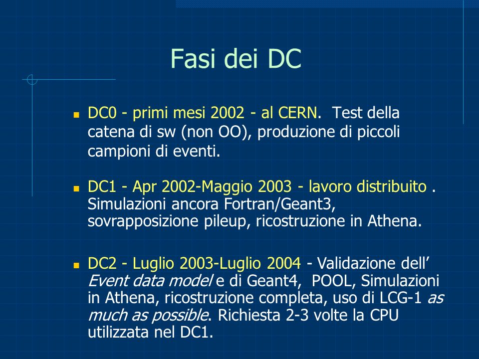 DC1 Bookkeeping: MAGDA Manager for Grid-based Data Storage di dati su siti distribuiti e replicazione verso host su cui girano le applicazioni.