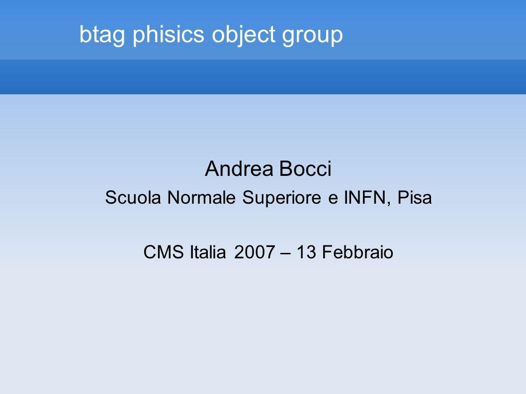 btag phisics object group Andrea Bocci Scuola Normale Superiore e INFN, Pisa CMS Italia 2007 – 13 Febbraio