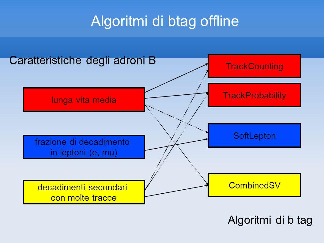 Algoritmi di btag offline Caratteristiche degli adroni B frazione di decadimento in leptoni (e, mu) decadimenti secondari con molte tracce lunga vita media TrackCounting TrackProbability SoftLepton CombinedSV Algoritmi di b tag