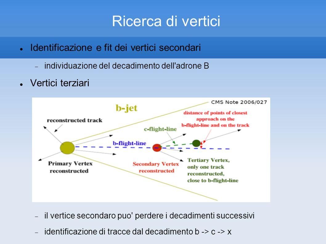 Ricerca di vertici Identificazione e fit dei vertici secondari individuazione del decadimento dell adrone B Vertici terziari il vertice secondaro puo perdere i decadimenti successivi identificazione di tracce dal decadimento b -> c -> x