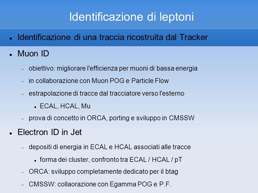 Identificazione di leptoni Identificazione di una traccia ricostruita dal Tracker Muon ID obiettivo: migliorare l efficienza per muoni di bassa energia in collaborazione con Muon POG e Particle Flow estrapolazione di tracce dal tracciatore verso l esterno ECAL, HCAL, Mu prova di concetto in ORCA, porting e sviluppo in CMSSW Electron ID in Jet depositi di energia in ECAL e HCAL associati alle tracce forma dei cluster, confronto tra ECAL / HCAL / pT ORCA: sviluppo completamente dedicato per il btag CMSSW: collaorazione con Egamma POG e P.F.