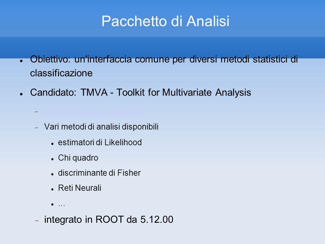 Pacchetto di Analisi Obiettivo: un'interfaccia comune per diversi metodi statistici di classificazione Candidato: TMVA - Toolkit for Multivariate Anal