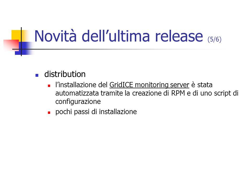 Novità dellultima release (5/6) distribution linstallazione del GridICE monitoring server è stata automatizzata tramite la creazione di RPM e di uno s