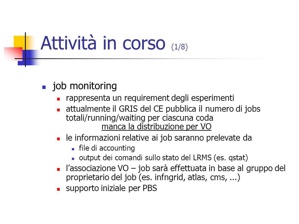 Attività in corso (1/8) job monitoring rappresenta un requirement degli esperimenti attualmente il GRIS del CE pubblica il numero di jobs totali/runni