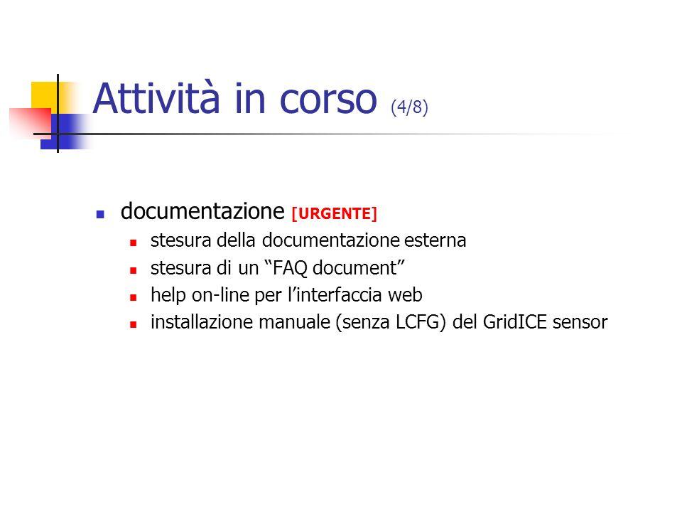 Attività in corso (4/8) documentazione [URGENTE] stesura della documentazione esterna stesura di un FAQ document help on-line per linterfaccia web ins