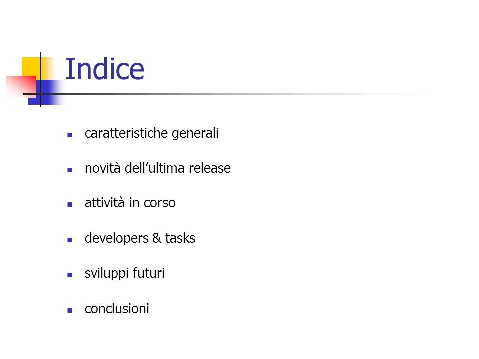 Indice caratteristiche generali novità dellultima release attività in corso developers & tasks sviluppi futuri conclusioni