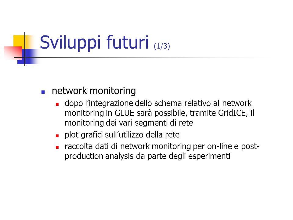 Sviluppi futuri (1/3) network monitoring dopo lintegrazione dello schema relativo al network monitoring in GLUE sarà possibile, tramite GridICE, il mo