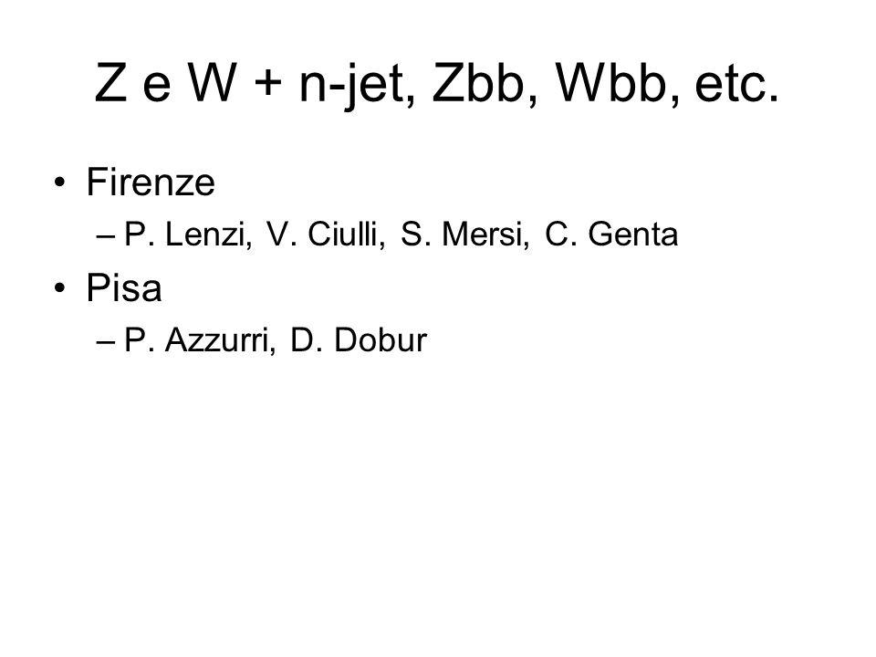 Z e W + n-jet, Zbb, Wbb, etc. Firenze –P. Lenzi, V. Ciulli, S. Mersi, C. Genta Pisa –P. Azzurri, D. Dobur