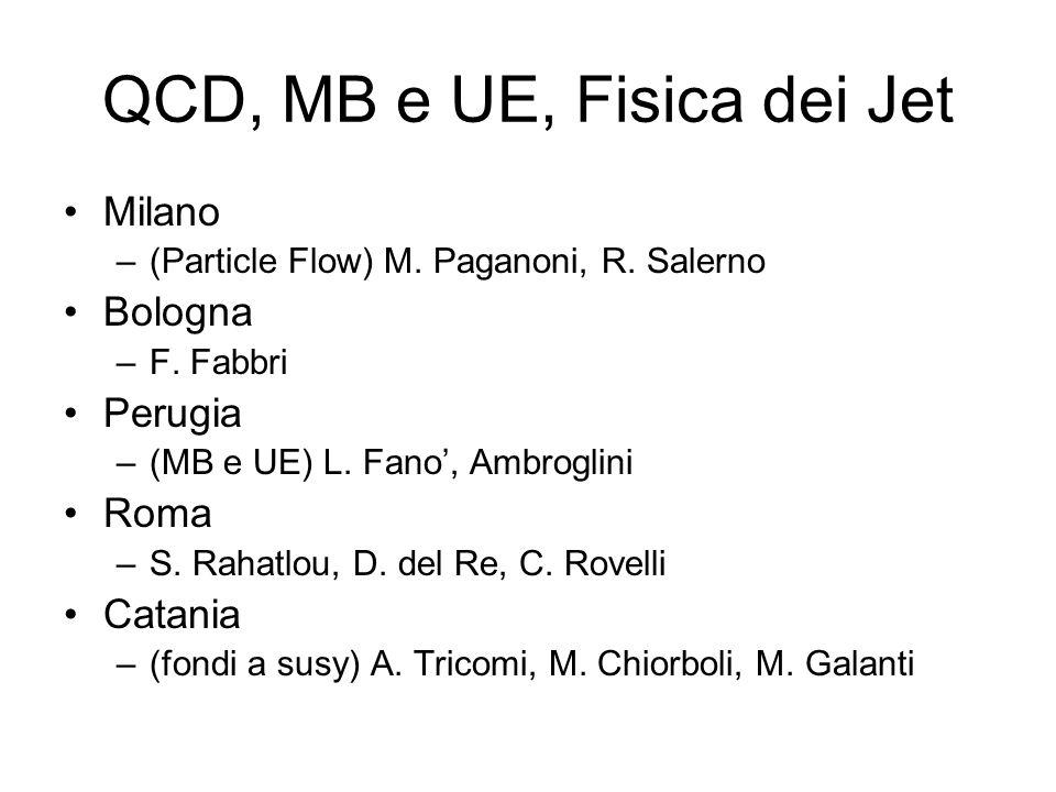 QCD, MB e UE, Fisica dei Jet Milano –(Particle Flow) M. Paganoni, R. Salerno Bologna –F. Fabbri Perugia –(MB e UE) L. Fano, Ambroglini Roma –S. Rahatl