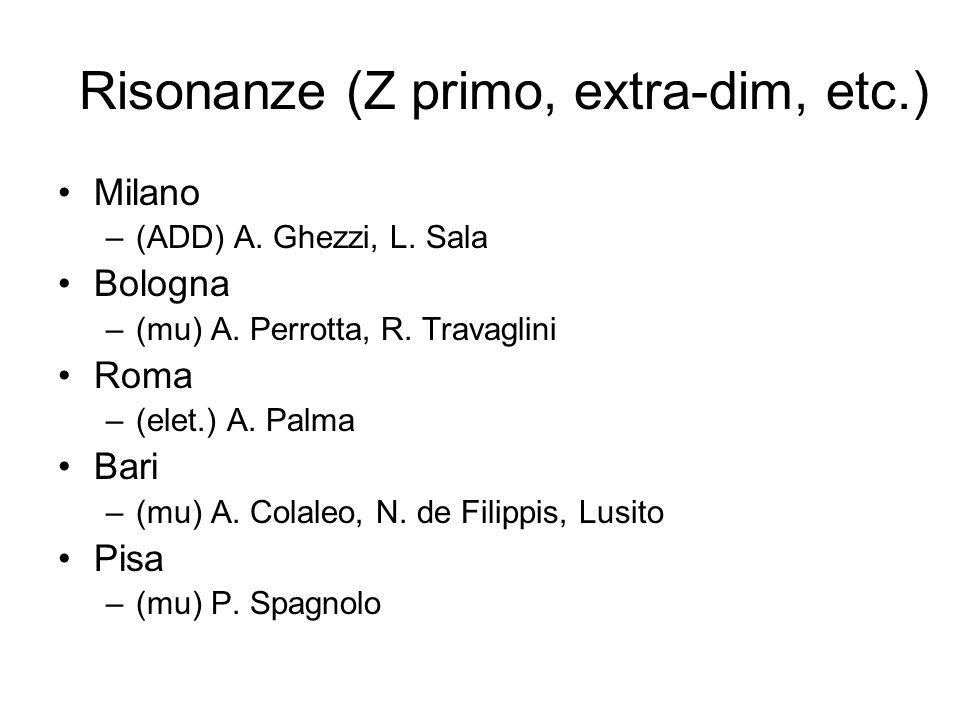 Risonanze (Z primo, extra-dim, etc.) Milano –(ADD) A. Ghezzi, L. Sala Bologna –(mu) A. Perrotta, R. Travaglini Roma –(elet.) A. Palma Bari –(mu) A. Co