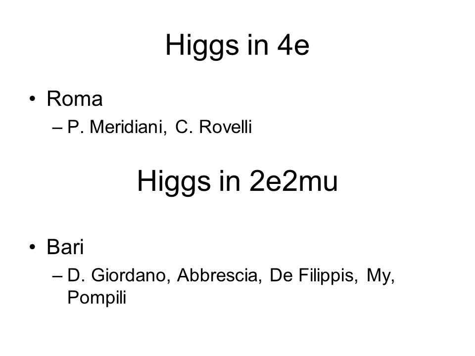Higgs in 4e Roma –P. Meridiani, C. Rovelli Bari –D. Giordano, Abbrescia, De Filippis, My, Pompili Higgs in 2e2mu