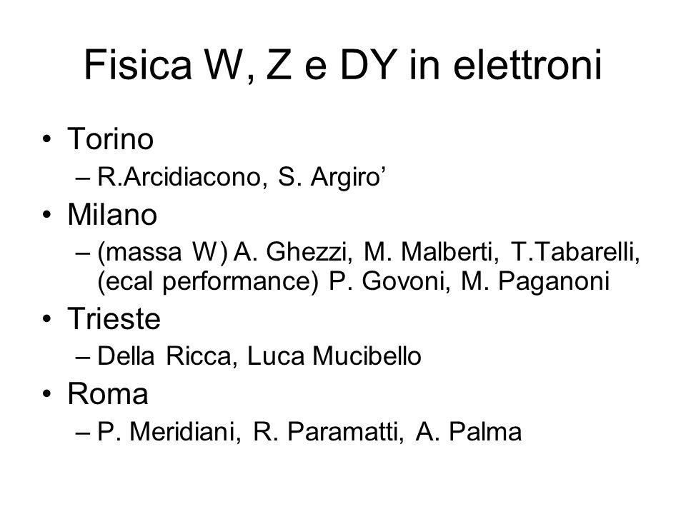 Fisica W, Z e DY in elettroni Torino –R.Arcidiacono, S. Argiro Milano –(massa W) A. Ghezzi, M. Malberti, T.Tabarelli, (ecal performance) P. Govoni, M.