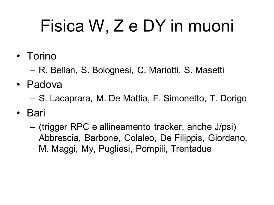 Fisica W, Z e DY in muoni Torino –R. Bellan, S. Bolognesi, C. Mariotti, S. Masetti Padova –S. Lacaprara, M. De Mattia, F. Simonetto, T. Dorigo Bari –(
