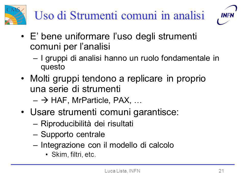 Luca Lista, INFN21 Uso di Strumenti comuni in analisi E bene uniformare luso degli strumenti comuni per lanalisi –I gruppi di analisi hanno un ruolo f