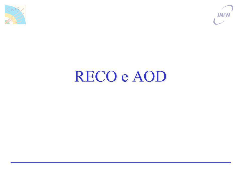 Luca Lista, INFN4 Formato Dati: RECO a AOD RECO: output consistente della ricostruzione –Consente riprocessamento –Goal: 250 kB/ev –+ G4 tracce/vertici + generatore MC AOD: output essenziale per lanalisi –Non è possibile il refit delle tracce –Goal: 50 kB/ev –+ generatore MC Ancora le dimensioni non sono ancora ottimali…