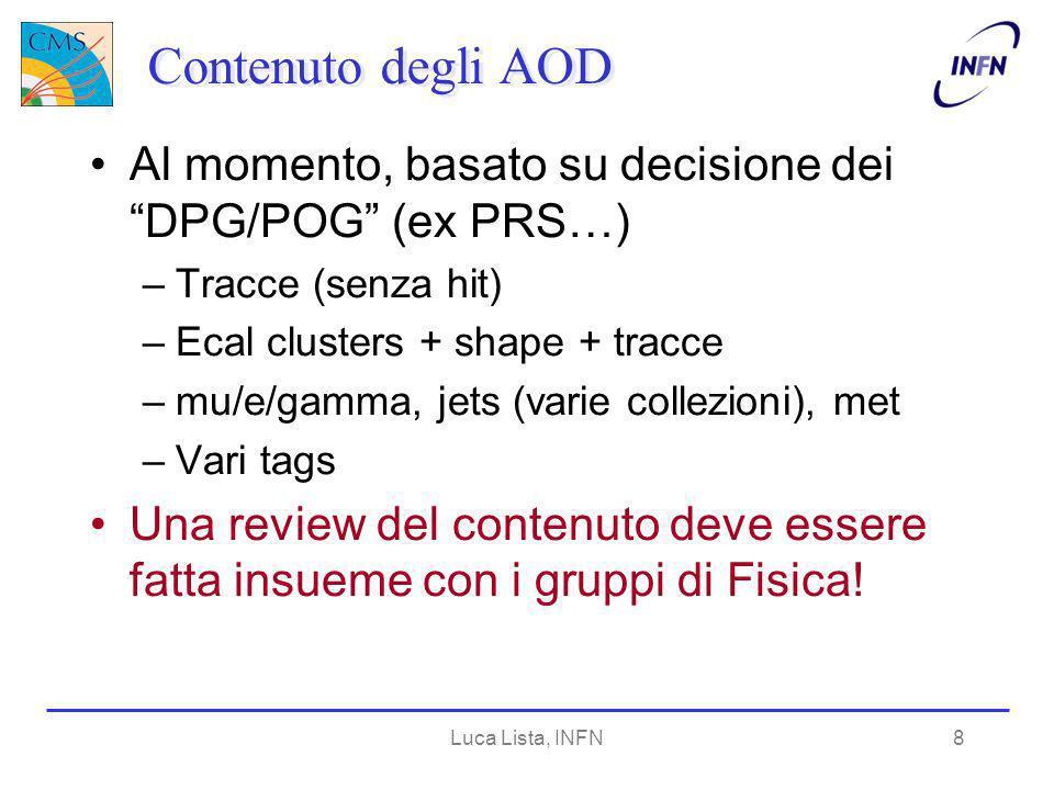 Luca Lista, INFN8 Contenuto degli AOD Al momento, basato su decisione dei DPG/POG (ex PRS…) –Tracce (senza hit) –Ecal clusters + shape + tracce –mu/e/