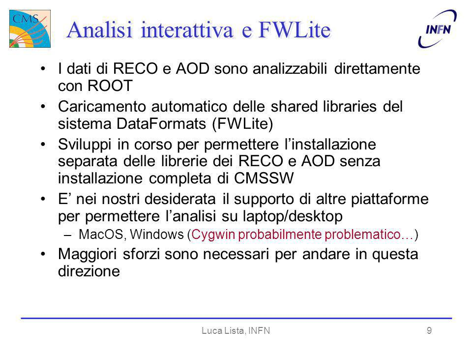Luca Lista, INFN20 Vertex fitter Integrato Kalman Vertex Fitter di Thomas Speer con candidati compositi ESHandle B; es.get ().get( B ); CandCommonVertexFitter fitter; fitter.set( B.product() ); Candidate * fittedZ = Z->clone(); fitter.set( * fittedZ ); Interfaccia semplificata rispetto al fitter generico sulle tracce –Estrazione delle tracce etc.