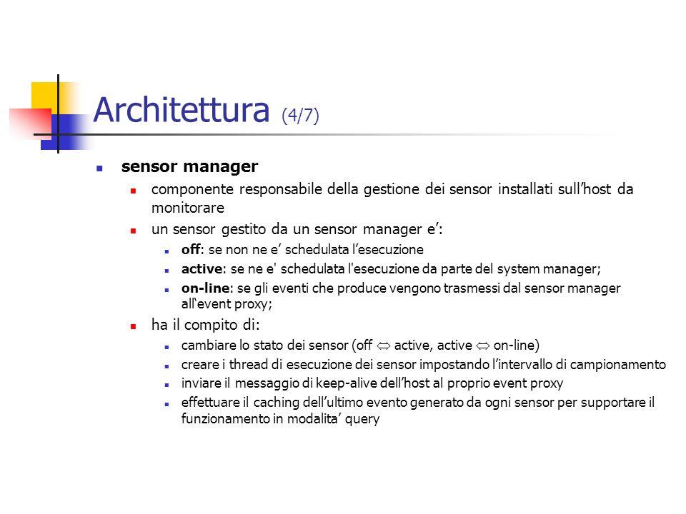 Architettura (4/7) sensor manager componente responsabile della gestione dei sensor installati sullhost da monitorare un sensor gestito da un sensor m