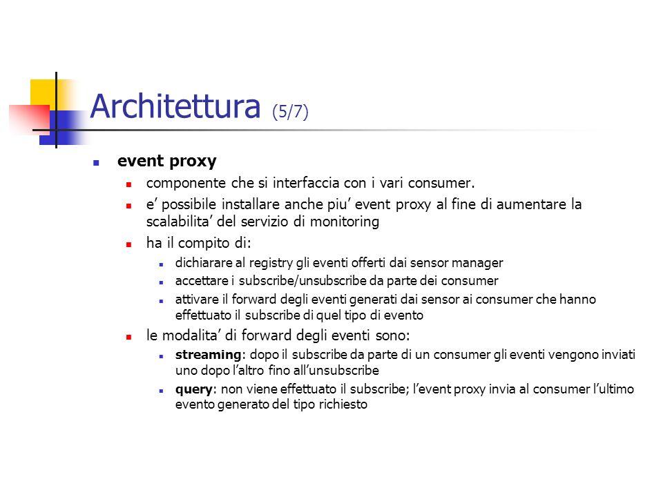 Architettura (5/7) event proxy componente che si interfaccia con i vari consumer. e possibile installare anche piu event proxy al fine di aumentare la