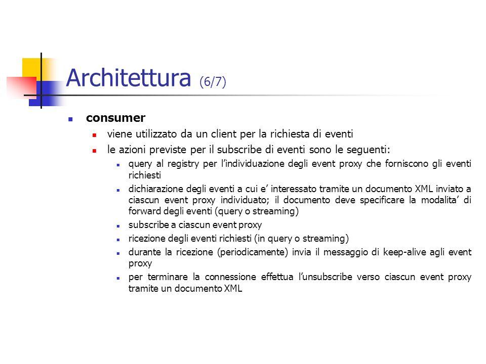 Architettura (6/7) consumer viene utilizzato da un client per la richiesta di eventi le azioni previste per il subscribe di eventi sono le seguenti: q