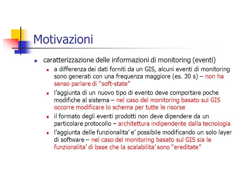 Motivazioni caratterizzazione delle informazioni di monitoring (eventi) a differenza dei dati forniti da un GIS, alcuni eventi di monitoring sono gene