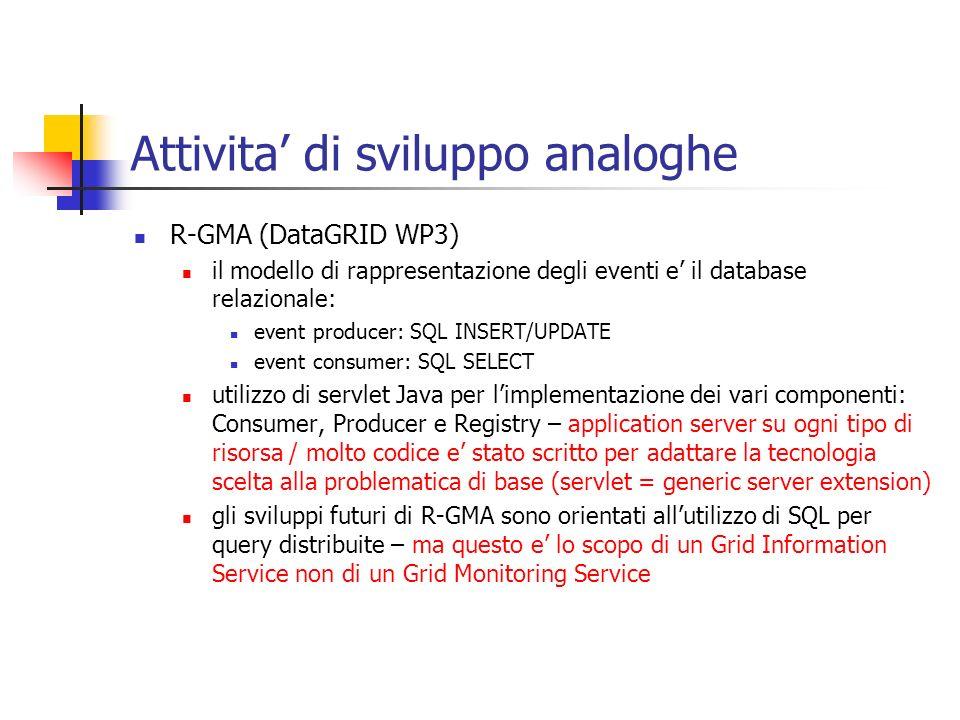 Attivita di sviluppo analoghe R-GMA (DataGRID WP3) il modello di rappresentazione degli eventi e il database relazionale: event producer: SQL INSERT/U