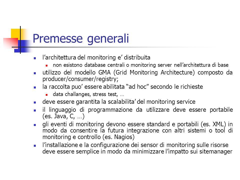 Premesse generali larchitettura del monitoring e distribuita non esistono database centrali o monitoring server nellarchitettura di base utilizzo del