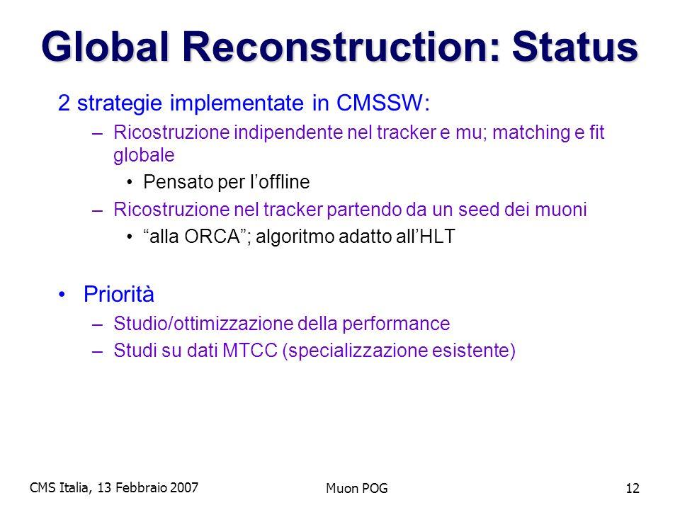 CMS Italia, 13 Febbraio 2007 Muon POG12 Global Reconstruction: Status 2 strategie implementate in CMSSW: –Ricostruzione indipendente nel tracker e mu; matching e fit globale Pensato per loffline –Ricostruzione nel tracker partendo da un seed dei muoni alla ORCA; algoritmo adatto allHLT Priorità –Studio/ottimizzazione della performance –Studi su dati MTCC (specializzazione esistente)