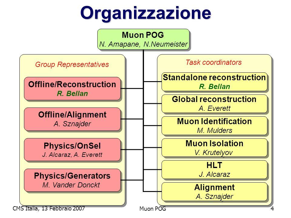 CMS Italia, 13 Febbraio 2007 Muon POG4Organizzazione N.