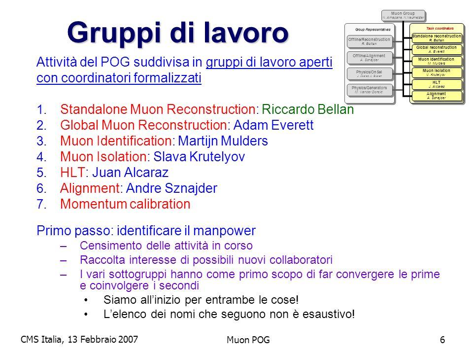 CMS Italia, 13 Febbraio 2007 Muon POG6 Gruppi di lavoro Attività del POG suddivisa in gruppi di lavoro aperti con coordinatori formalizzati 1.