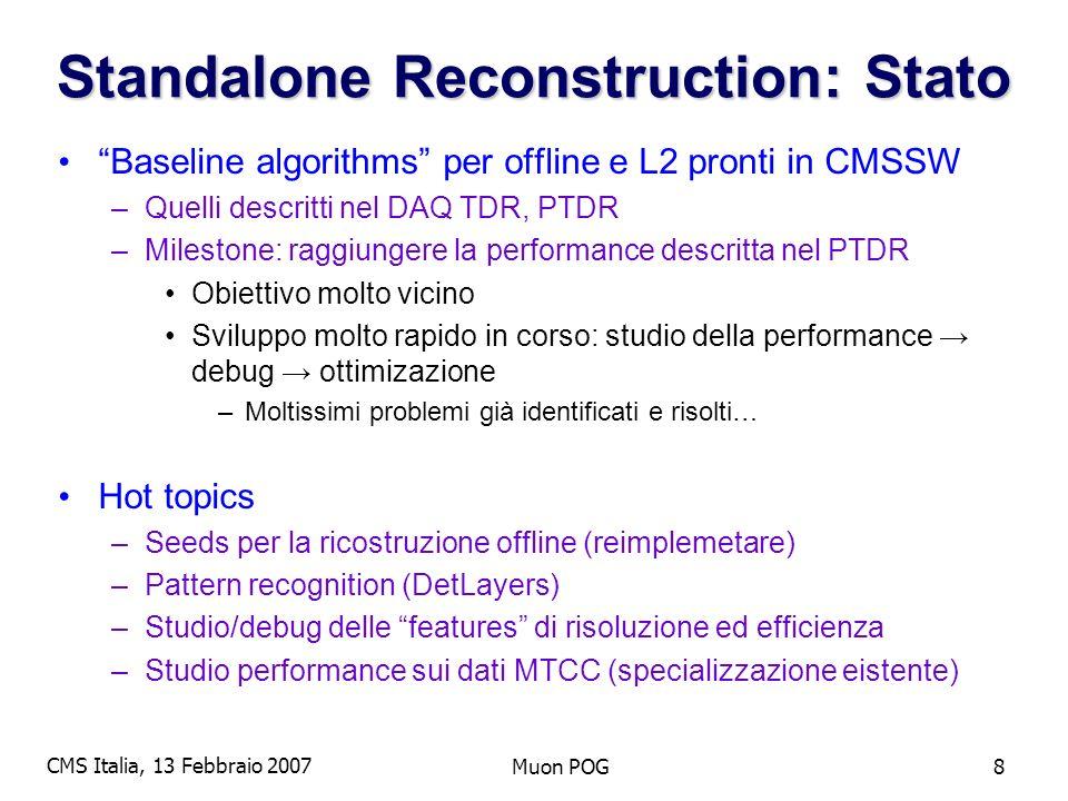 CMS Italia, 13 Febbraio 2007 Muon POG9 Standalone Reconstruction (III) CMSSW 1.2.0 (no vtx constraint) PTDR (with vtx constraint) vtx constraint incluso in CMSSW_130 stay tuned… Plot: S.Choi, J.