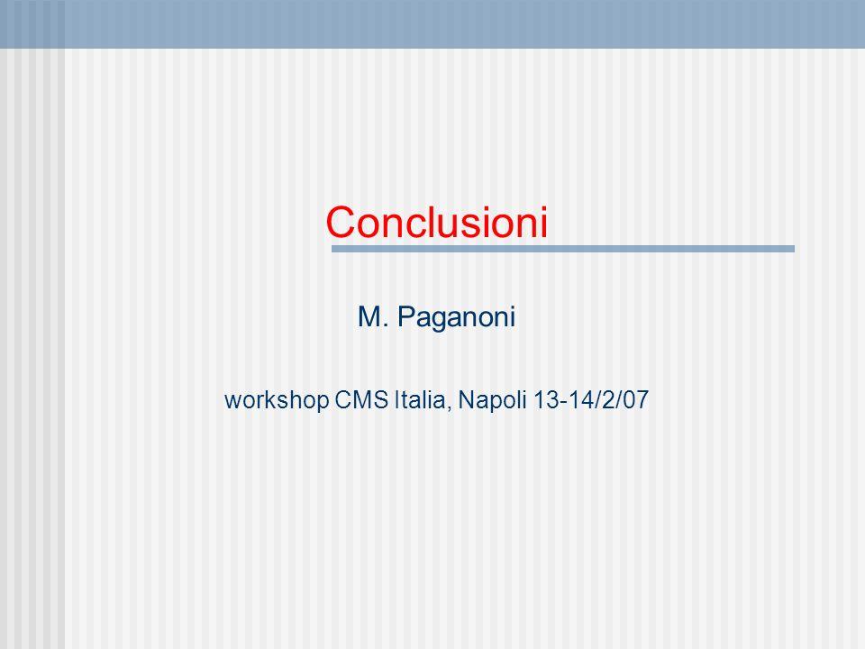 Conclusioni M. Paganoni workshop CMS Italia, Napoli 13-14/2/07