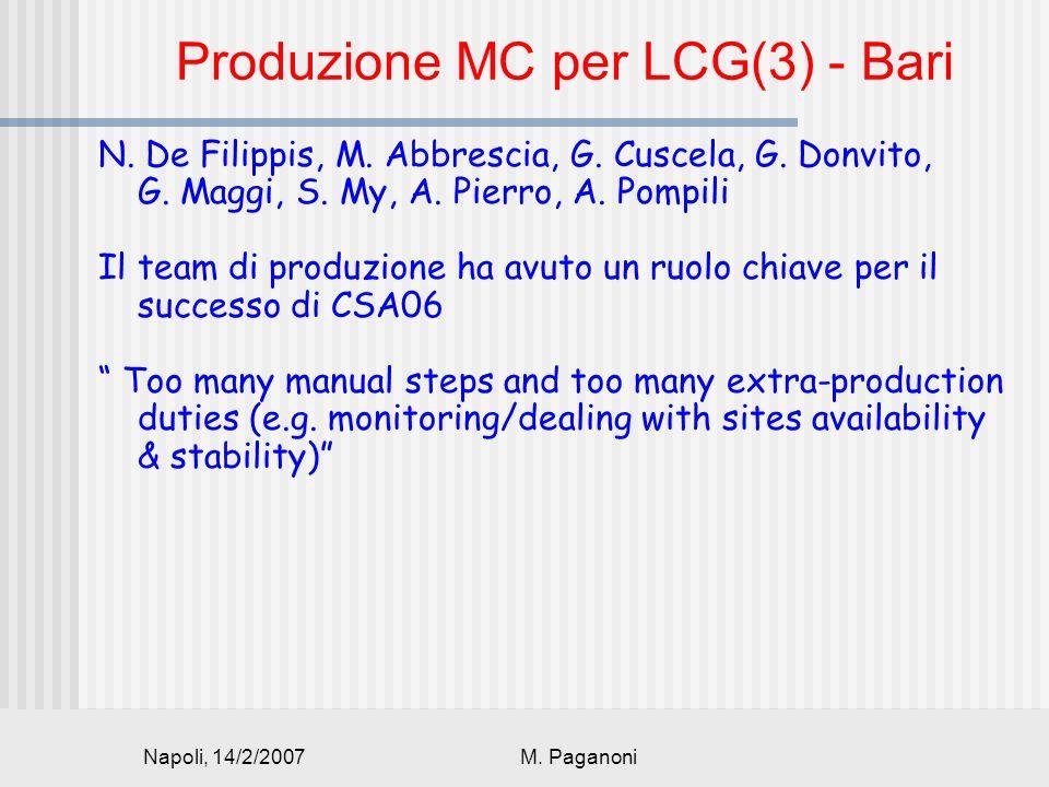 Napoli, 14/2/2007M. Paganoni Produzione MC per LCG(3) - Bari N.