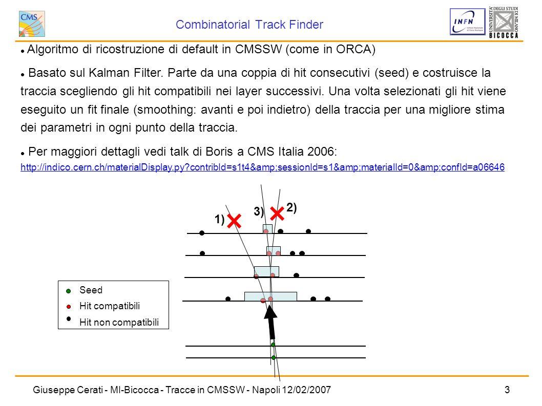 Giuseppe Cerati - MI-Bicocca - Tracce in CMSSW - Napoli 12/02/20073 Algoritmo di ricostruzione di default in CMSSW (come in ORCA) Basato sul Kalman Fi