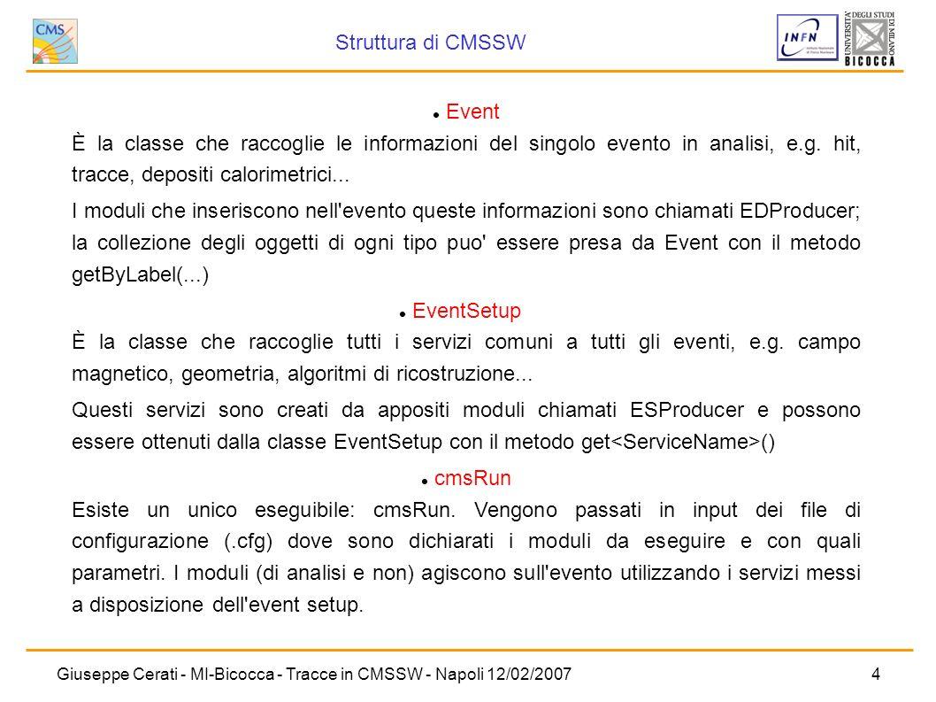Giuseppe Cerati - MI-Bicocca - Tracce in CMSSW - Napoli 12/02/20074 Event È la classe che raccoglie le informazioni del singolo evento in analisi, e.g