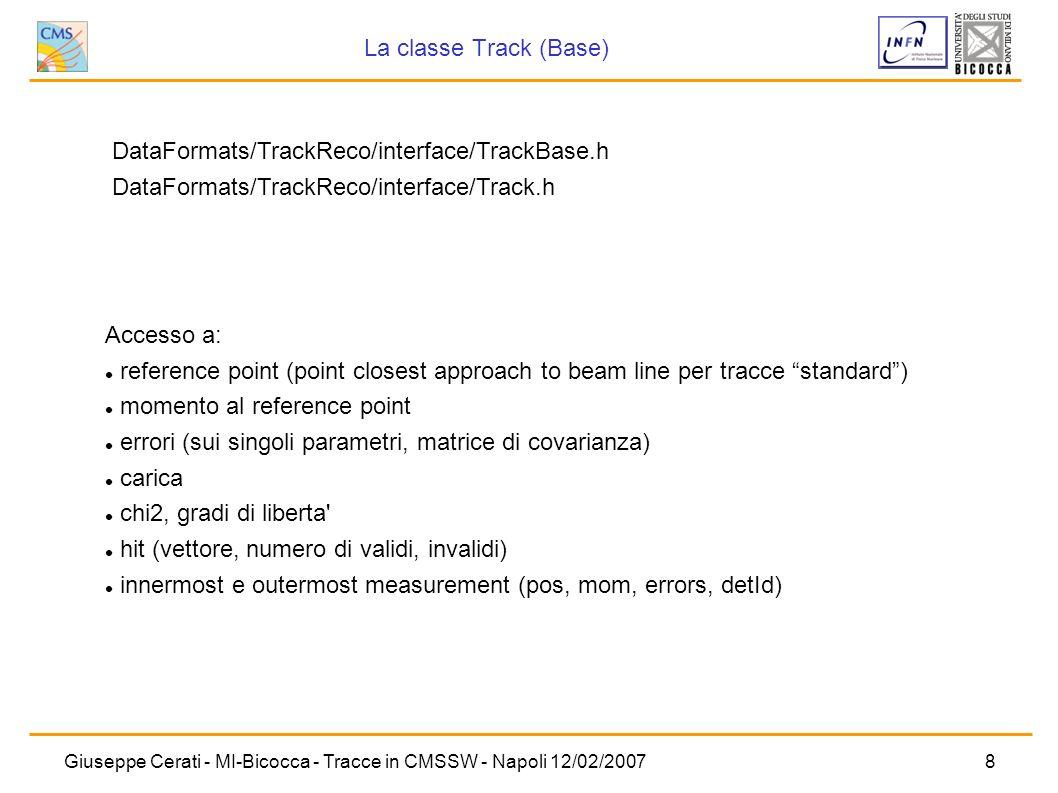 Giuseppe Cerati - MI-Bicocca - Tracce in CMSSW - Napoli 12/02/20078 DataFormats/TrackReco/interface/TrackBase.h DataFormats/TrackReco/interface/Track.