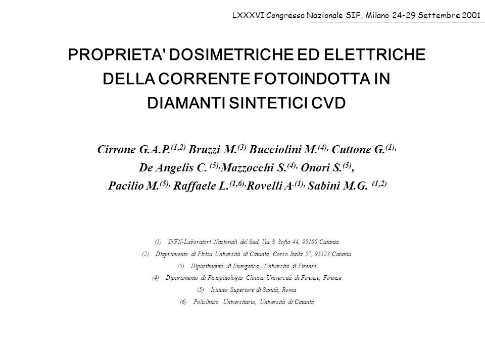 PROPRIETA DOSIMETRICHE ED ELETTRICHE DELLA CORRENTE FOTOINDOTTA IN DIAMANTI SINTETICI CVD Cirrone G.A.P.