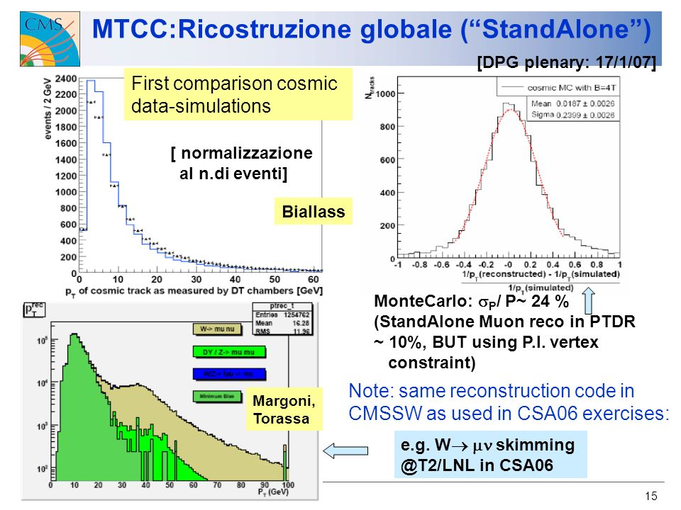 U.Gasparini CMS-Italia, Napoli 2007 15 MTCC:Ricostruzione globale (StandAlone) First comparison cosmic data-simulations Biallass MonteCarlo: P / P~ 24 % (StandAlone Muon reco in PTDR ~ 10%, BUT using P.I.