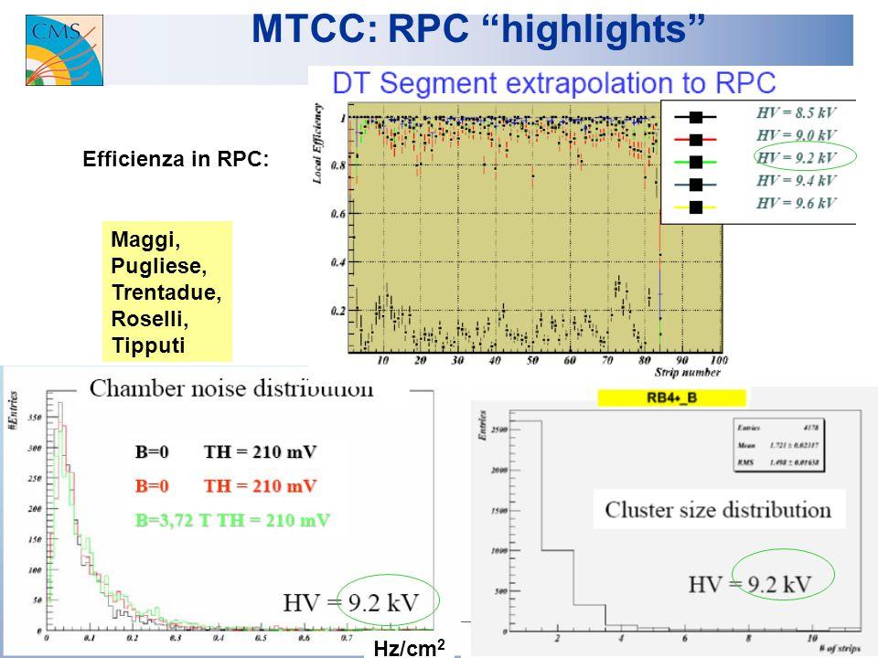 U.Gasparini CMS-Italia, Napoli 2007 18 MTCC: RPC highlights Efficienza in RPC: Hz/cm 2 Maggi, Pugliese, Trentadue, Roselli, Tipputi