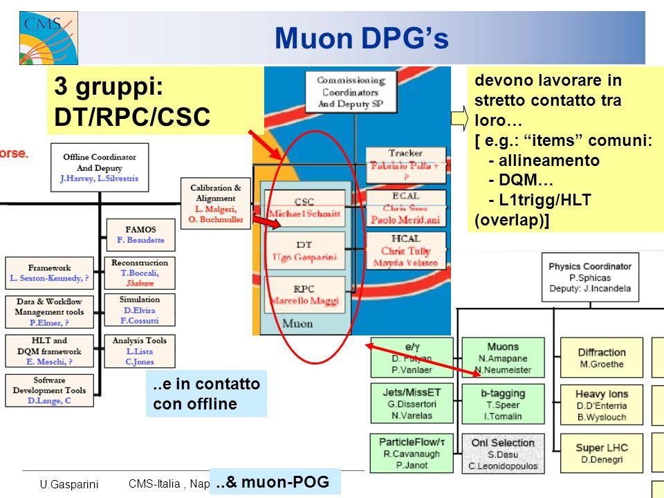 U.Gasparini CMS-Italia, Napoli 2007 3 Muon DPGs Importante/dominante presenza in DT/RPC DPGs (ovviamente…) Task Resp.